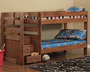 Simply Bunk Beds Twin Over Twin Stair Bed In Chocolate Lease Zone