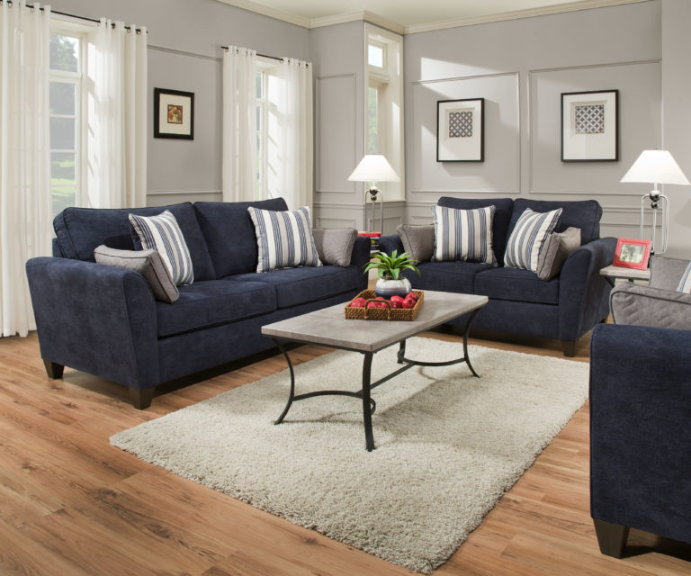 Simmons Prelude Navy Living Room Set Lease Zone Rent To Own