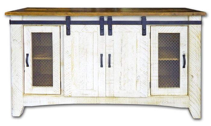 """70"""" WHITEWASH BARN DOOR TV STAND   Lease Zone Rent To Own"""