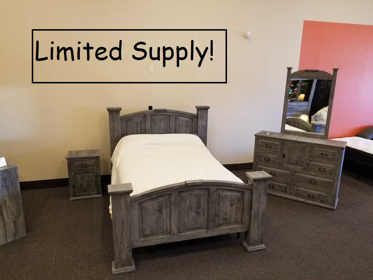 Million Dollar Rustic Charcoal Gray Queen Bedroom Set Lease Zone Rent To Own